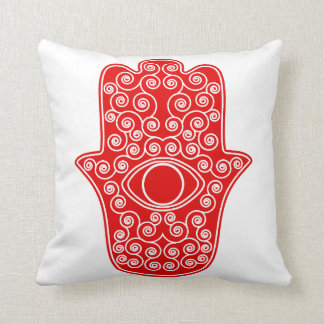 Red Hamsa-Hand of Miriam-Hand of Fatima.png Cushion