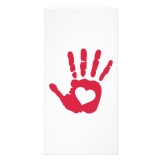 Red hand heart photo card