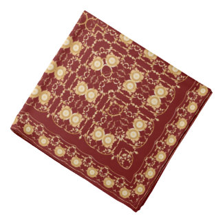 Red handkerchief with gold ornament bandana