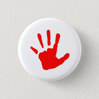 Red Handprint 3 Cm Round Badge