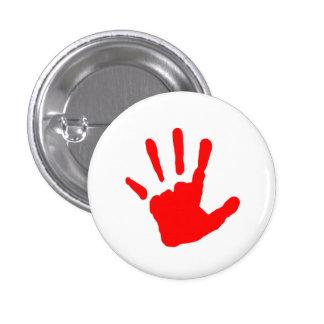 Red Handprint 3 Cm Round Badge