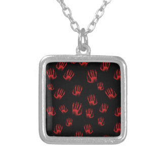 Red Hands Silver Plated Necklace