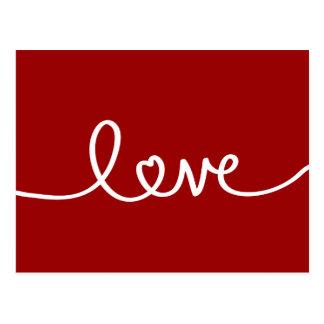 Red Handwritten Love Valentine's Day Postcard
