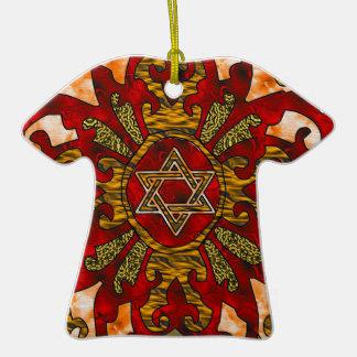Red Hanukkah Mandala Double-Sided T-Shirt Ceramic Christmas Ornament