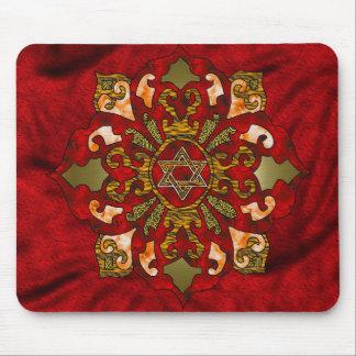 Red Hanukkah Mandala Mousepad