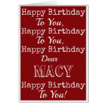 Red Happy Birthday Song Greeting Card