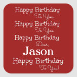 Red Happy Birthday Song Stickers