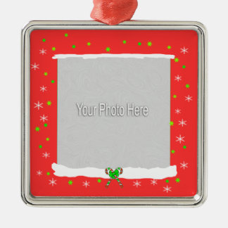 Red Happy Holiday Snowflakes (photo frame) Christmas Ornament