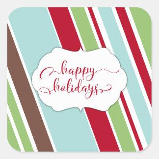 Red Happy Holidays Typography w/ Diagonal Stripes Square Sticker