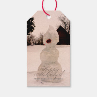 Red Happy Holidays Winter Snowman Custom Photo Gift Tags