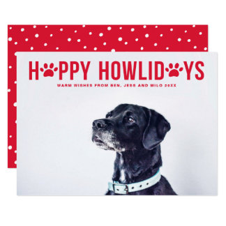 Red Happy Howlidays Modern Typography Pet Holiday Card