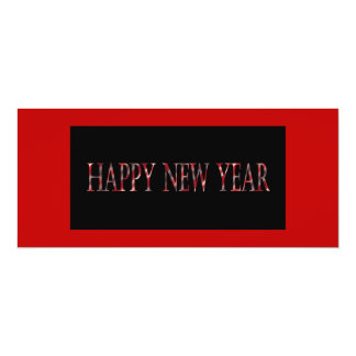red happy new year 10 cm x 24 cm invitation card
