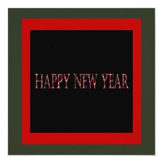 red happy new year 13 cm x 13 cm square invitation card
