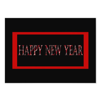 red happy new year 13 cm x 18 cm invitation card