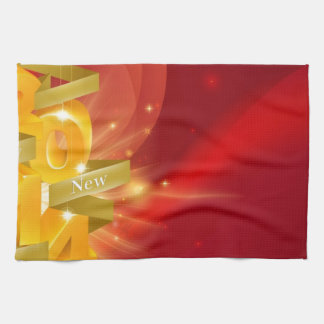 Red Happy New Year 2014 Background Towel