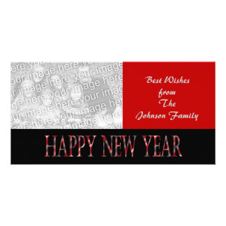 red happy new year custom photo card