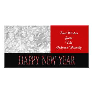 red happy new year custom photo card