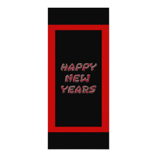 red happy new years 10 cm x 24 cm invitation card