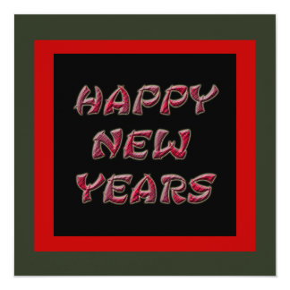 red happy new years 13 cm x 13 cm square invitation card