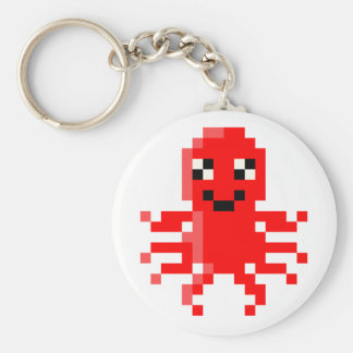 Red Happy Pixel Squid Basic Round Button Key Ring