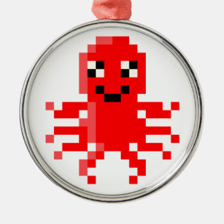 Red Happy Pixel Squid Christmas Ornament