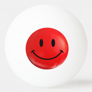 Red Happy Smiley Ping Pong Ball