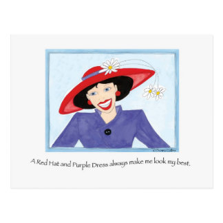 Red Hat and Purple Dress Lady Postcard
