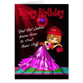 Red Hat Birthday Card Strut Their Stuff