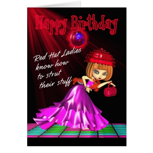Red Hat Birthday Card Strut Their Stuff