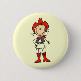 Red Hat Cowgirl Tshirts and Gifts 6 Cm Round Badge