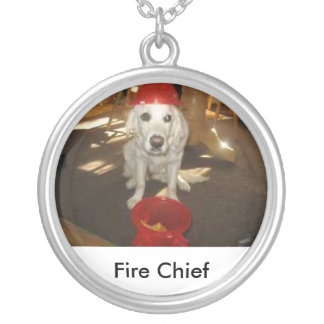 red hat, Fire Chief Round Pendant Necklace