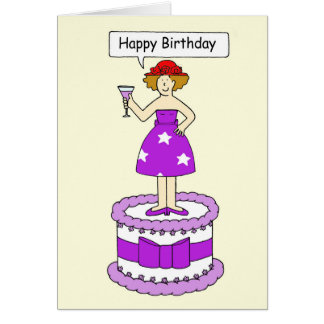 Red hat lady, happy birthday! card
