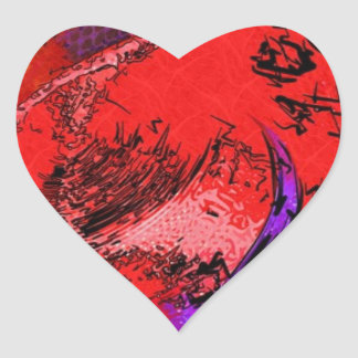 Red Hat Lithograph Heart Sticker