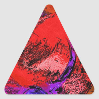 Red Hat Lithograph Triangle Stickers