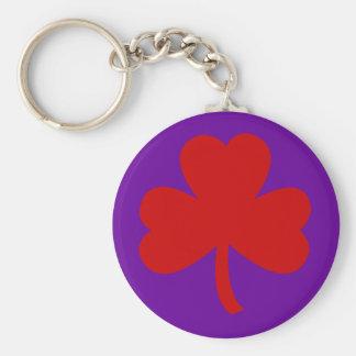 Red Hat Shamrock Basic Round Button Key Ring