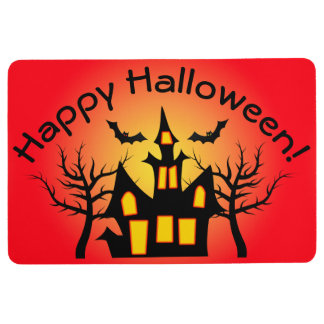 Red Haunted House and Bats Floor Mat