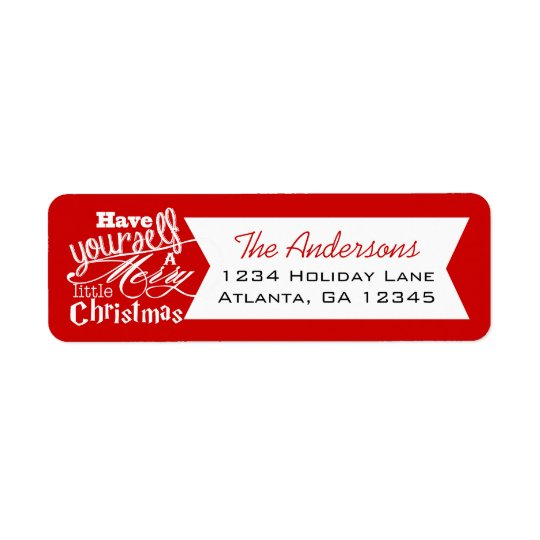 Red Have Yourself a Merry Little Christmas Return Address Label