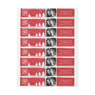 Red Have Yourself a Merry Little Christmas Wraparound Address Label