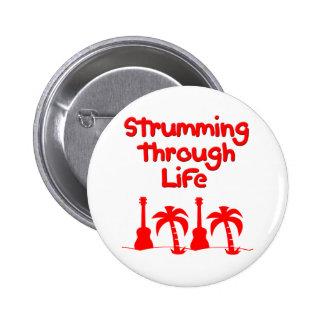 Red Hawaain Ukulele Uke Tropical Surf Design 6 Cm Round Badge