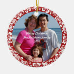 Red Hawaiian Hibiscus Christmas Photo Ornament