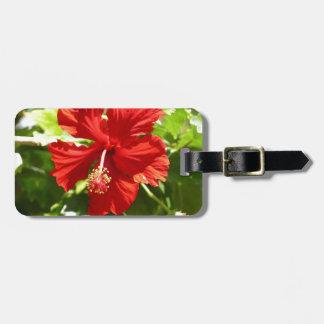 Red Hawaiian Hibiscus Flower Luggage Tag