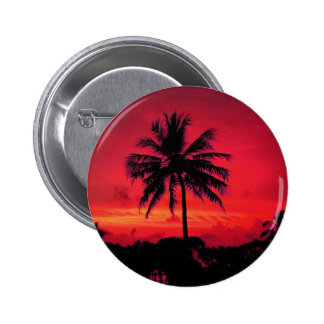 Red Hawaiian Sunset Exotic Palm Trees 6 Cm Round Badge