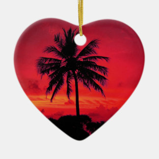 Red Hawaiian Sunset Exotic Palm Trees Ceramic Heart Decoration