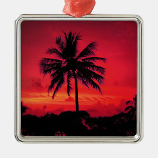 Red Hawaiian Sunset Exotic Palm Trees Silver-Colored Square Decoration