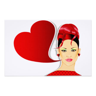 Red Head and Heart Sign Personalised Stationery