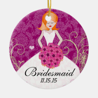 Red Head Birdesmaid  Gifts You Choose Colors Round Ceramic Decoration