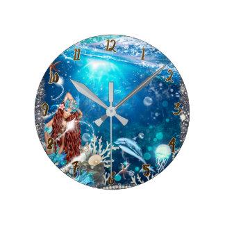 Red Head Mermaid Under the Sea Fantasy Custom Round Clock