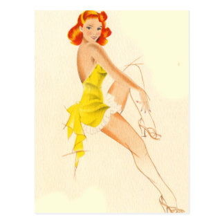 Red Head Pinup Postcard