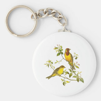 Red-headed Bunting Basic Round Button Key Ring