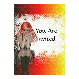 Red headed goth girl 13 cm x 18 cm invitation card